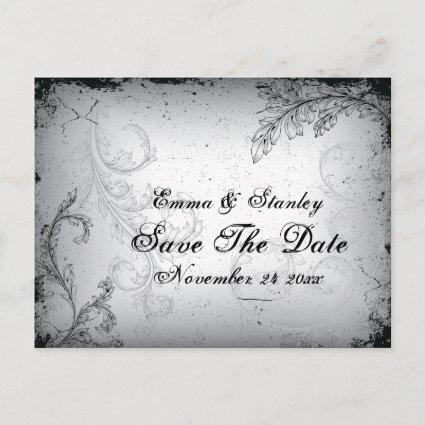 Vintage black grey scroll leaf Save the Date Announcements Cards