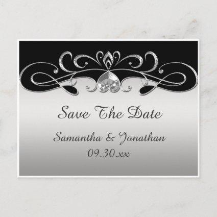 Vintage Black Silver Ornate Swirls Save The Date Announcements Cards