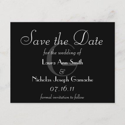 Vintage Black & White Monogram Save the Date