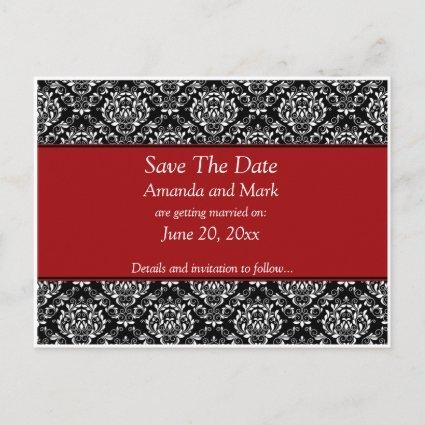 Vintage Black White Red Damask Save The Date Announcement