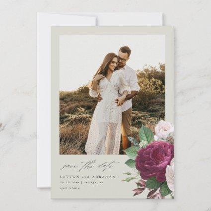 Vintage blooms photo wedding save the date invitation