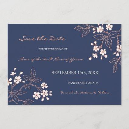 Vintage Blue Floral Wedding Save the Date