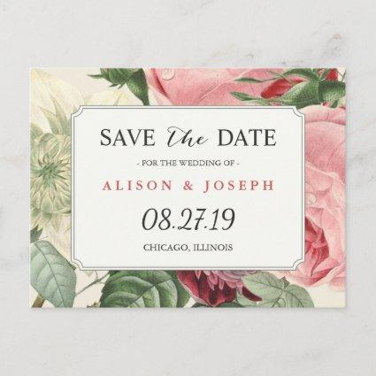 Vintage Botanical Floral Wedding Save the Date Announcements Cards