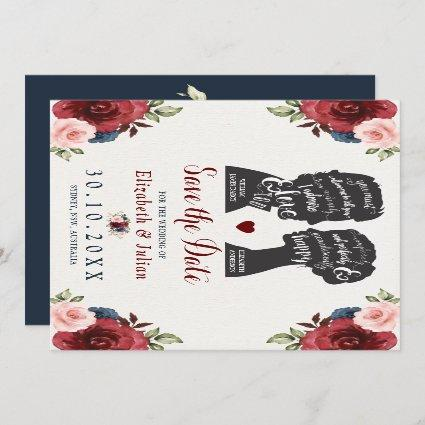 Vintage Burgundy Navy Floral Quotes Save the Date Invitation