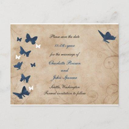 vintage butterfly wedding save the date announcement