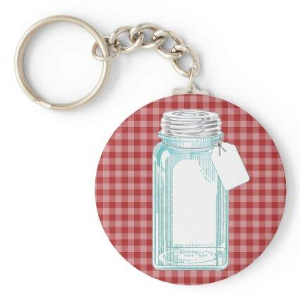 Vintage Canning Jar Red Gingham Keychain