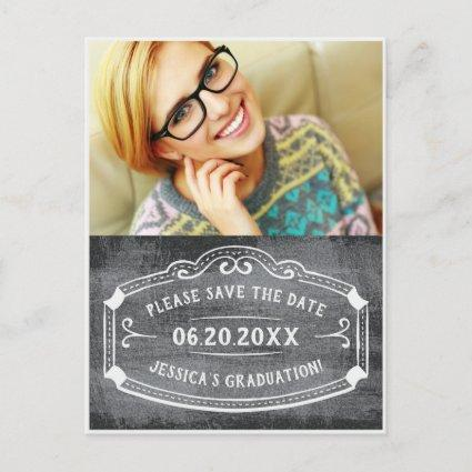 Vintage Chalkboard Save The Date Graduation Photo Announcements Cards