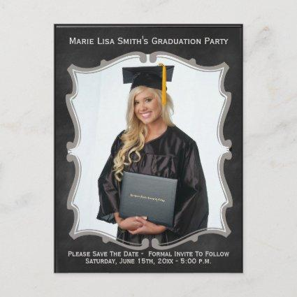 Vintage Chalkboard Style Graduation Photo Cards