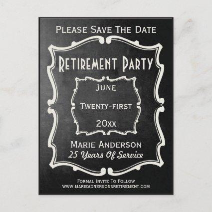 Vintage Chalkboard Style Save The Date Retirement Announcement