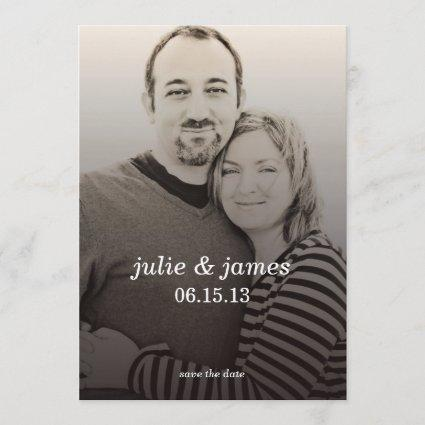 VIntage Charcoal Save-the-Date Card