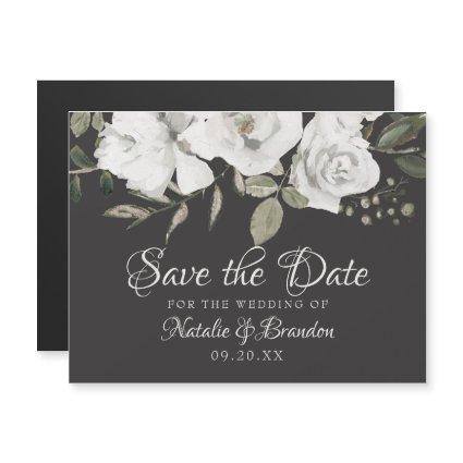 Vintage Cherish White Floral & Roses Save the Date