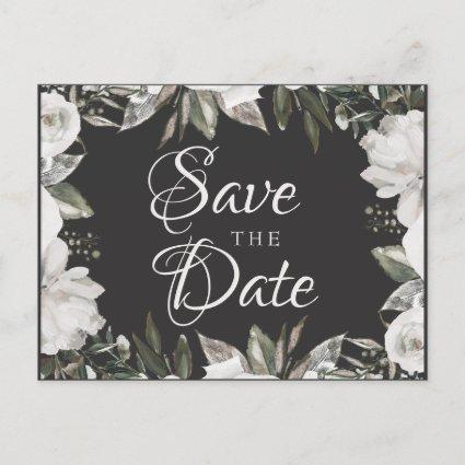 Vintage Cherish White Floral & Roses Save the Date Announcement