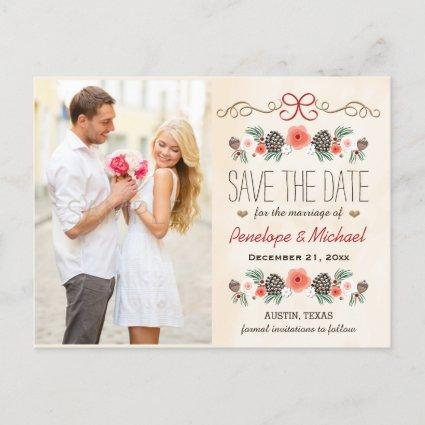 Vintage Christmas Pine Cone Save the Date Announcements