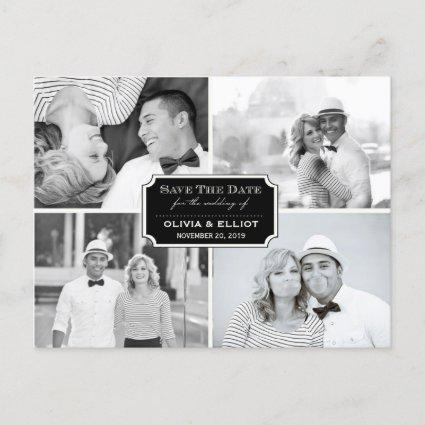 Vintage Classic Bookplate Four Photo Save The Date Announcement