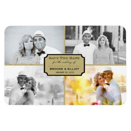 Vintage Classic Bookplate Four Photo Save The Date Magnet