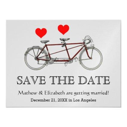 Vintage Cute Tandem Bicycle Wedding Save The Date Magnetic Invitation