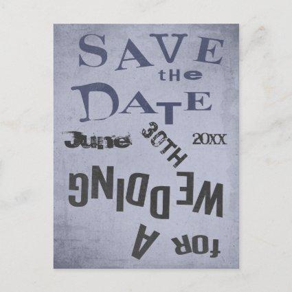 Vintage Dada Style Wedding Save The Date Announcement