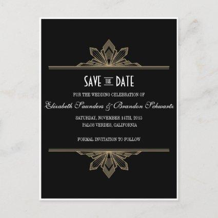 Vintage Deco Black & Gold Save the Date Announcements Cards