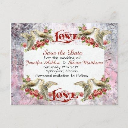 Vintage Dove Wedding Save The Date Cards