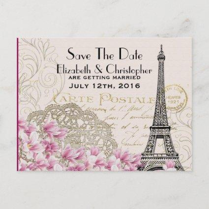 Vintage Eiffel Tower Parisian Style Save The Date Announcement