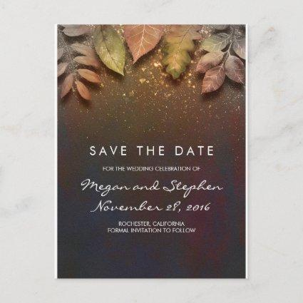 Vintage Fall Leaves and Gold Glitter Save the Date Announcement