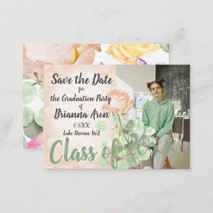Vintage Floral Pink Green Save the Date Card