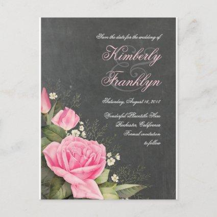 Vintage Flower Chalkboard Save the Date Announcement