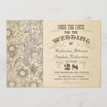 vintage flowers typographic save the date