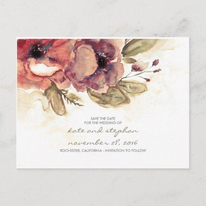 vintage flowers watercolor save the date Cards