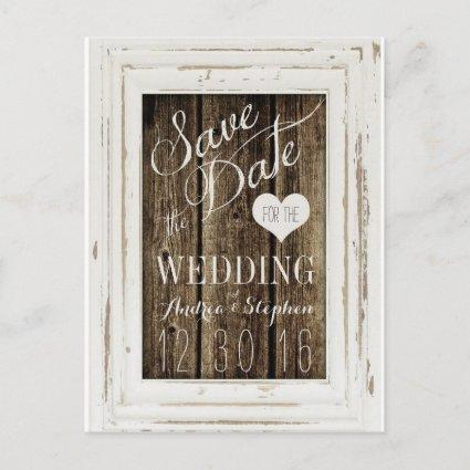 Vintage Frame Rustic Wood Typography Save the Date Announcement