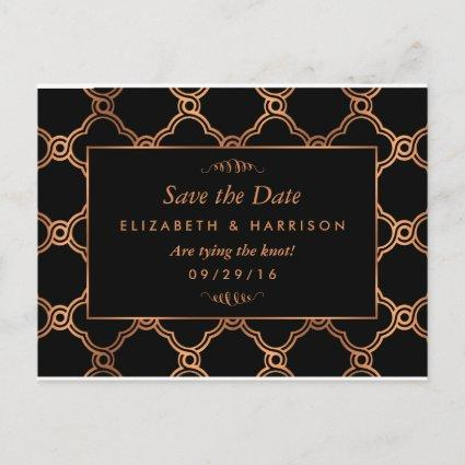Vintage Geometric Art Deco Gatsby Save The Date Announcement