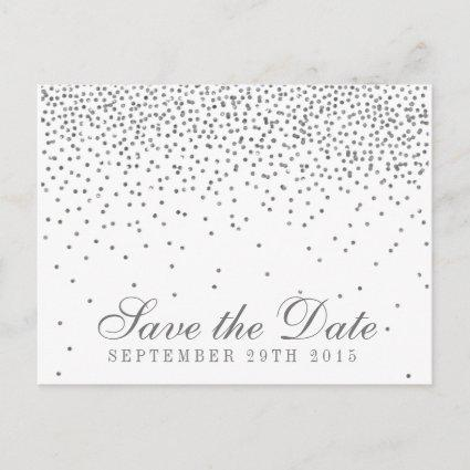 Vintage Glam Silver Confetti Save The Date Announcement