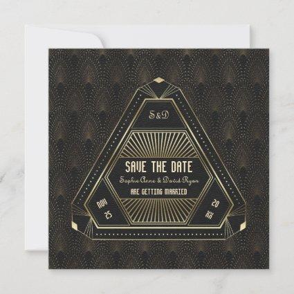 Vintage Gold Great Gatsby Wedding Save The Date