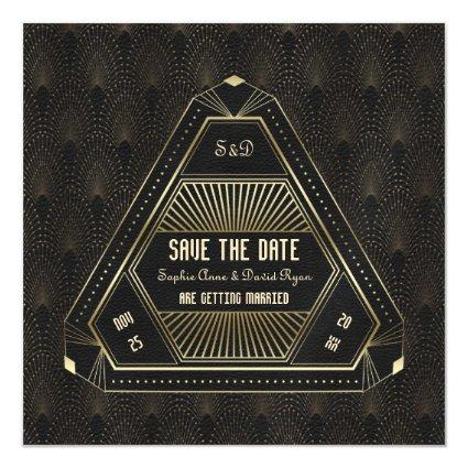 Vintage Gold Great Gatsby Wedding Save The Date Magnetic Invitation