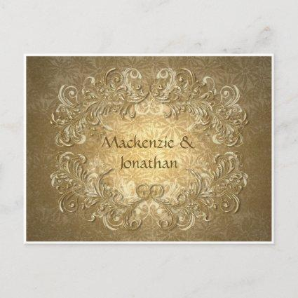Vintage Gold Swirls on Gold Background Save The Da Announcements Cards