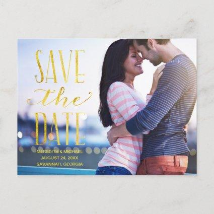 Vintage Gold Whimsy | Photo Save the Date Announcement