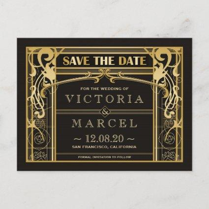 Vintage Great Gatsy Art Deco Save The Date Announcement