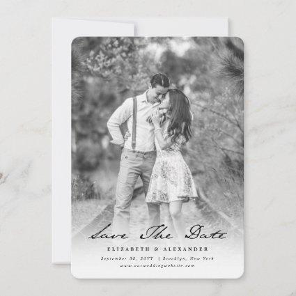 Vintage Handwriting Script Photo Save The Date