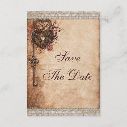 Vintage Hearts Lock and Key Wedding Save The Date