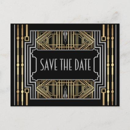 Vintage Hollywood Gatsby Wedding Save the Date Announcement