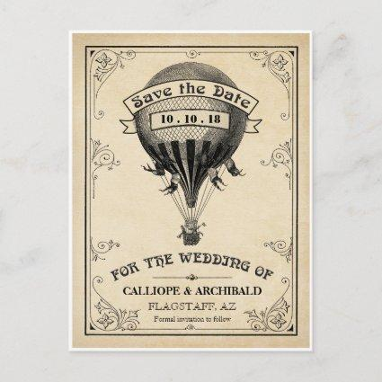 Vintage Hot Air Balloon Wedding Save the Date Announcements Cards