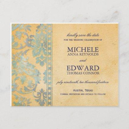 Vintage Ice Blue Damask Lace Save the Date