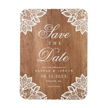 Vintage lace and rustic wood wedding save the date magnet