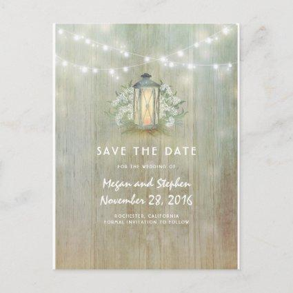 Vintage Lantern and White Flowers Save The Date Announcement
