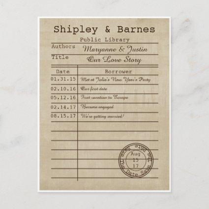 Vintage Library Cards Save The Date
