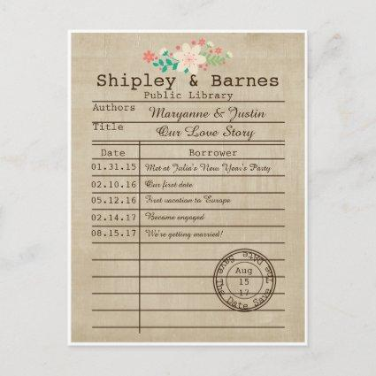 Vintage Library Cards Wildflowers Save The Date