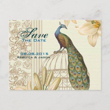 Vintage lily floral peacock wedding save the date announcement