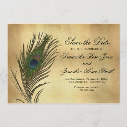 Vintage Look Peacock Feather Elegant Save the Date