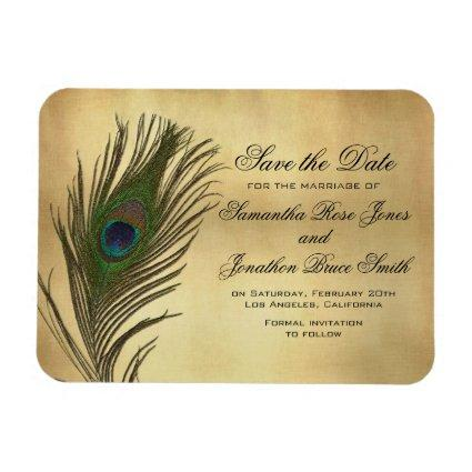 Vintage Look Peacock Feather Elegant Save the Date Magnet