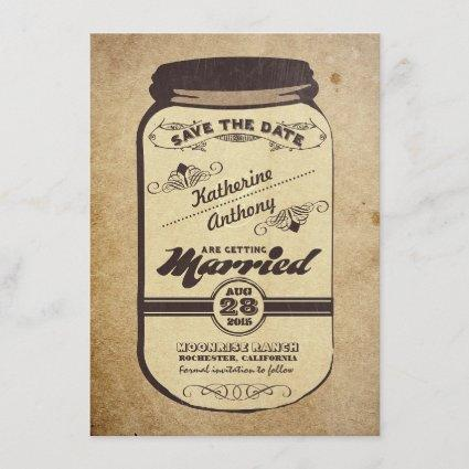 vintage mason jar rustic save the date